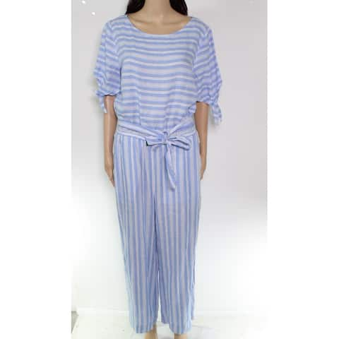 Lauren by Ralph Lauren Women Jumpsuit Blue Size 6 Stripe Belted Linen