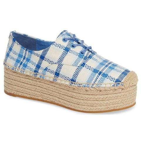 Tory Burch Womens Florence Blue Check Platform Espadrille Shoes