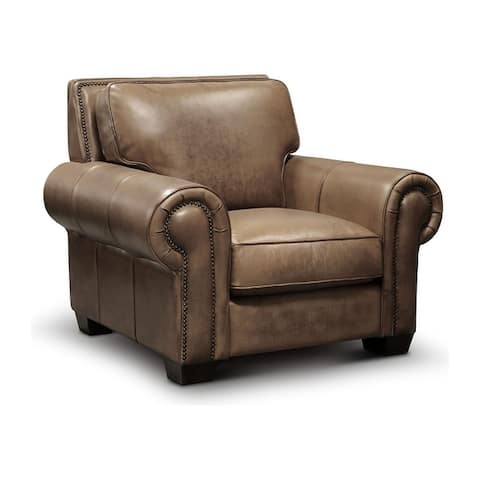 Valencia Top Grain Hand Antiqued Leather Traditional Armchair