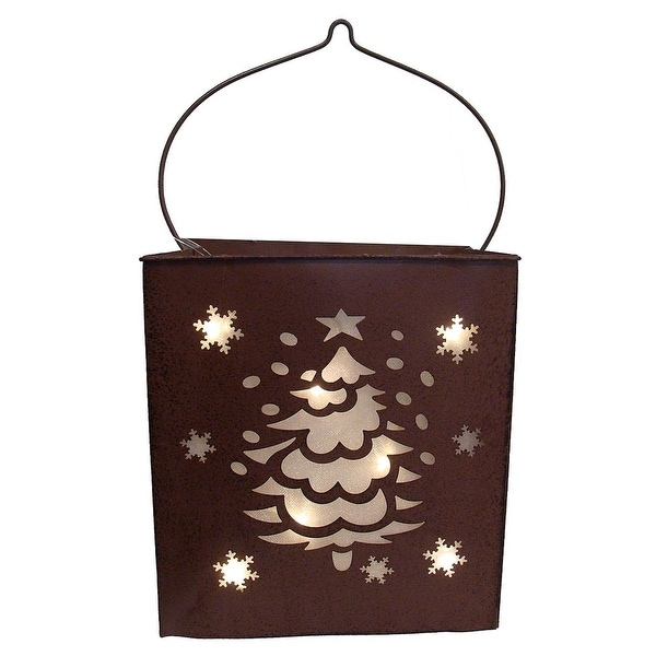 """12.5"""" Shimmering LED Lighted Christmas Tree and Snowflake Battery Operated Lantern"""