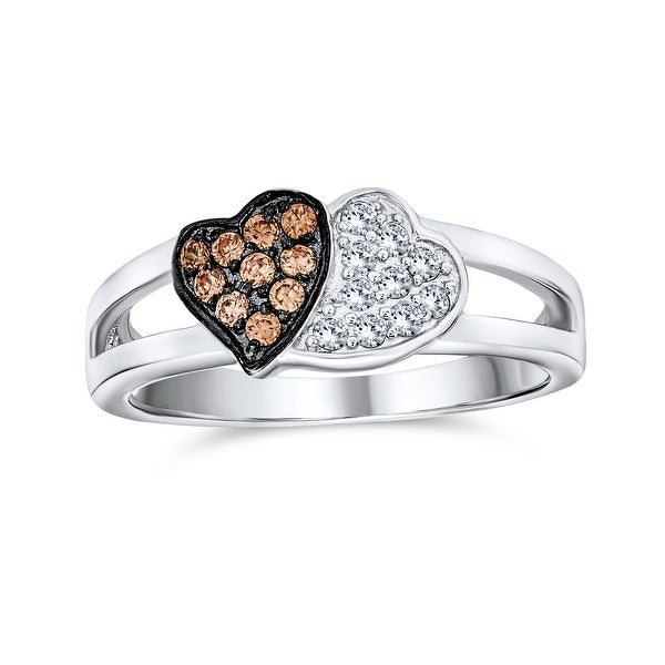 Coffee Brown White Two Tone CZ 2 Double Heart Ring 925 Sterling Silver. Opens flyout.