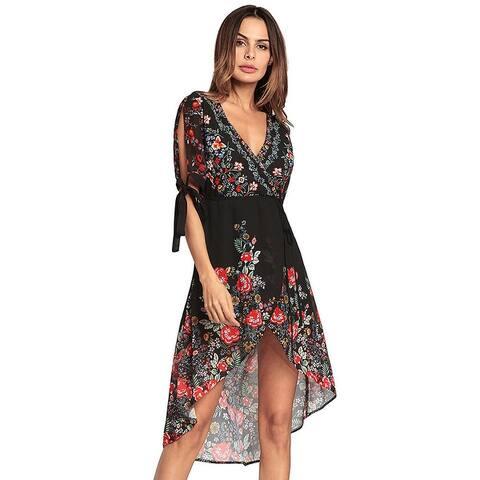 Bohemia V Collar Irregular Printing Chiffon Dress