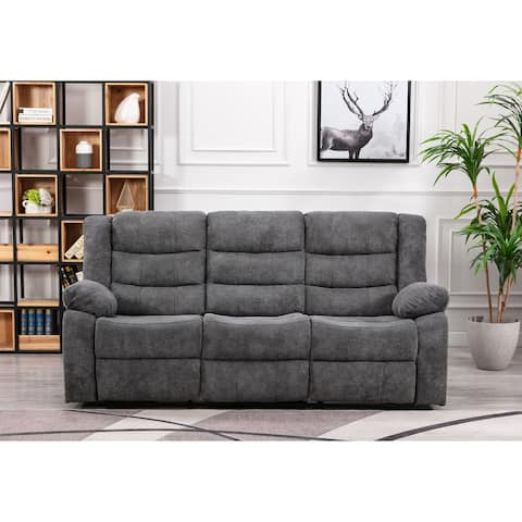 Anji Reclining Sofa with Fold-Down Table and Cup Holders