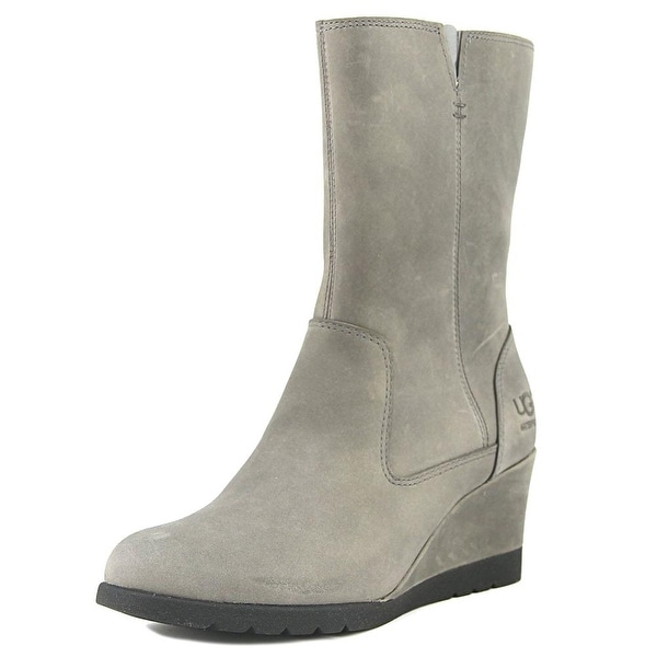 UGG Collection W Joely Women Round Toe Leather Gray Mid Calf Boot
