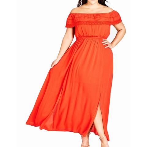 City Chic Women's Dress Orange 24W Plus Maxi Crochet Lace Off-Shoulder