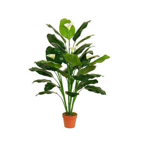 "47.5"" Decorative Potted Artificial Green and White Tropical Spathe Peace Lily Plant"
