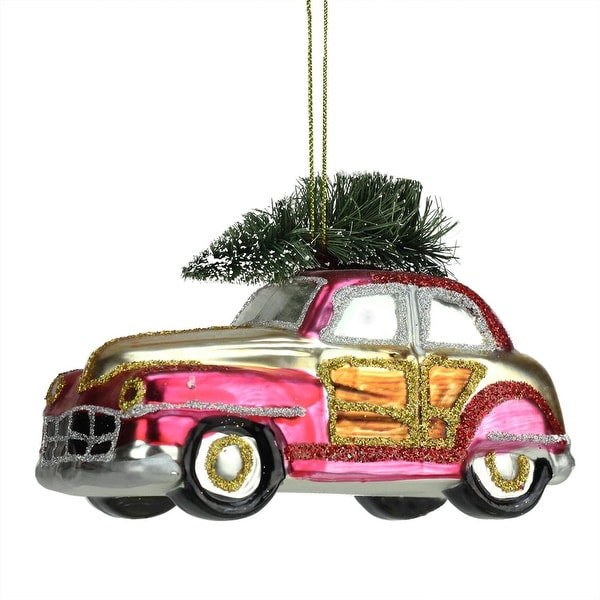 "5"" Festive Glittered Car with Christmas Tree on Top Glass Holiday Ornament - PInk"