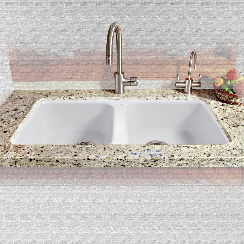 Miseno Mci46 5um 33 Double Basin Undermount Cast Iron Kitchen Sink Overstock 13154447