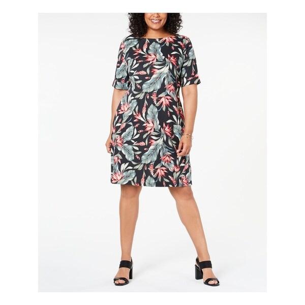 KAREN SCOTT Green Short Sleeve Above The Knee Shift Dress Size 0X