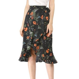 Link to Women Ruffle Skirt Tie Waist High Low Floral Wrap Skirt Similar Items in Skirts
