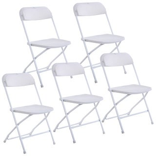 Costway Set of 5 Plastic Folding Chairs Wedding Party Event Chair Commercial White