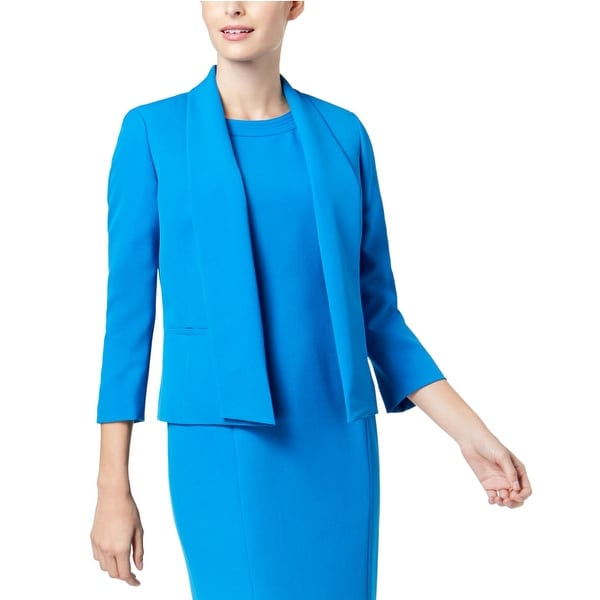 322556bb Shop Kasper Blue Imperial Women's Size 8 Crepe Fly Away Lapel Jacket - Free  Shipping On Orders Over $45 - Overstock - 27566349