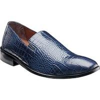 Stacy Adams Men's Galindo Plain Toe Slip On 24996 Blue Leather