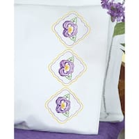 Stamped Pillowcases W/White Perle Edge 2/Pkg-Pansies