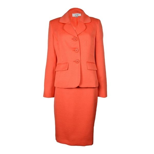 Le Suit Women's Tropical Blooms Patterned Skirt Suit