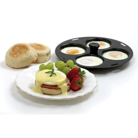 "Norpro Nonstick Metal 4 Egg Poacher Pan - Fits 10 to 12"" Skillets"