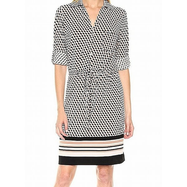 ae5d6bc3bf102 Shop Tommy Hilfiger Beige Womens Size 12 Geometric-Print Shirt Dress - Free  Shipping On Orders Over  45 - Overstock - 21834872