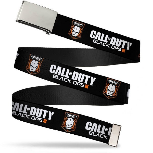 "Blank Chrome 1.0"" Buckle Call Of Duty Black Ops Iii Skull Icon Black White Web Belt 1.0"" Wide - S"