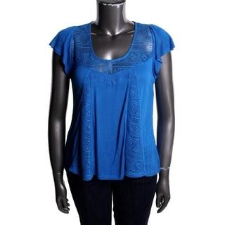 Belle du Jour Womens Juniors Slub Lace Inset Pullover Top