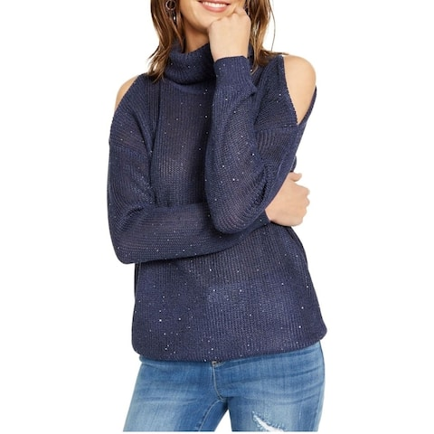 INC International Concepts Women's Sequin Cutout Turtleneck Sweater Size Medium