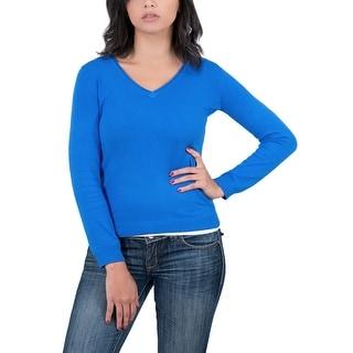 Real Cashmere Cobalt Blue V-Neck Womens Sweater