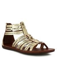 Nomadas Adult Gold Strappy Zipper Closure Open Toe Trendy Sandals