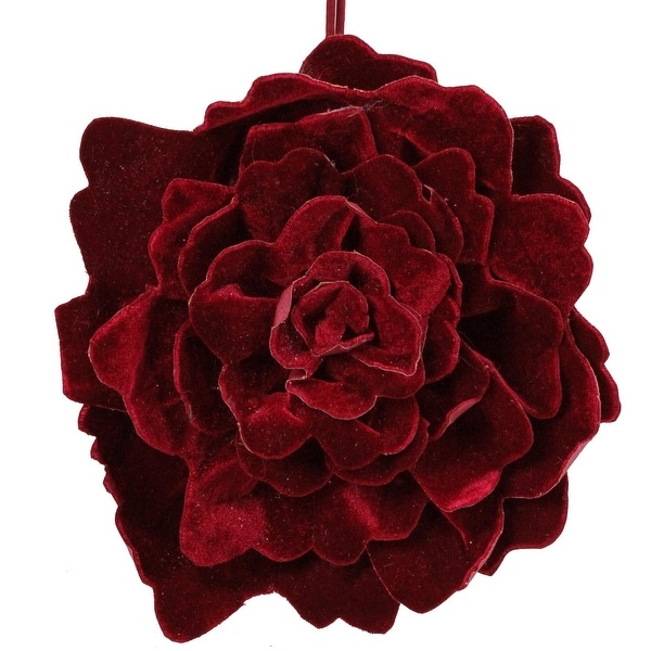 "10.5"" Nature's Luxury Decorative Burgundy Red Velvet Flower Christmas Ornament"