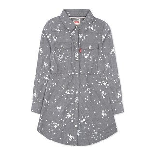 Levi's Girls Long Sleeve Woven Shirt Dress Grey Cloud Dancer Stars