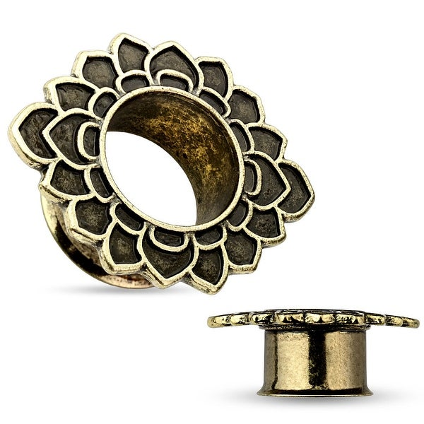 Tribal Flower Antique Gold IP Flared Tunnel (Sold Individually)