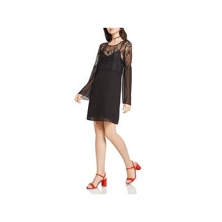 BCBGeneration Womens Party Dress Lace Yoke & Shoulder Long Sleeves