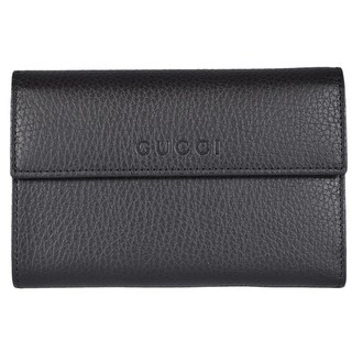 Gucci 346057 Black Textured Leather French Wallet W/Coin Pocket