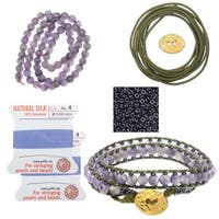 Refill - Leather Double Wrapped Loom Bracelet - Amethyst/Absinth - Exclusive Beadaholique Jewelry Kit