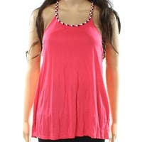 Bench NEW Pink Black Women's Size Small S Braided Trim Tank Cami Top