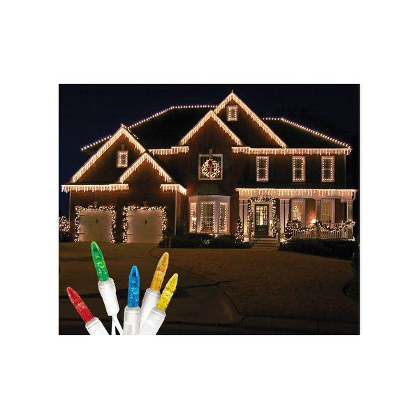Christmas at Winterland S-ICM55M-IW Standard Icicle Lights M5 LED Multicolor Color Faceted 70 Lights White Wire 22 Gauge - N/A