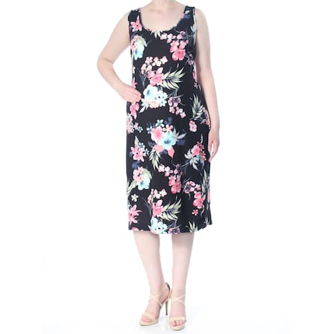 PLANET GOLD Womens Black Floral Print Sleeveless Scoop Neck Below The Knee Shift Evening Dress Plus Size: 3X