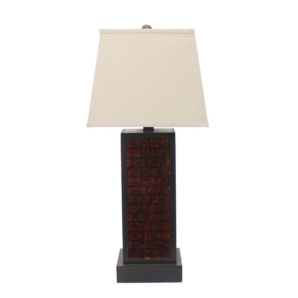 Rectangular Metal Frame Table Lamp with Brick Pattern, Beige and Brown. Opens flyout.