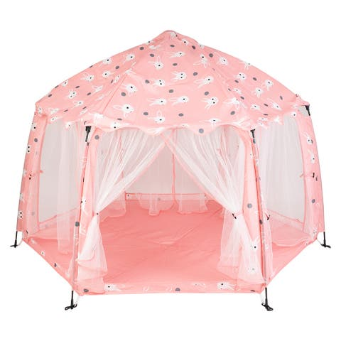 Printed Pongee Automatic Shelf Play Tent Toy with Tote Bag Pink