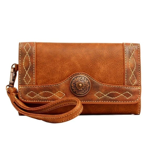 Blazin Roxx Western Wallet Women Ivy Clutch Copper Concho Tan - 7 1/2 x 4 1/2