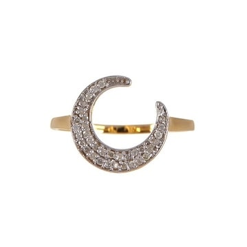 14K Gold Moon Shape Diamond Ring