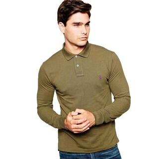 Polo Ralph Lauren Men Custom Fit Long Sleeves Polo Shirt Green XL - X-LARGE