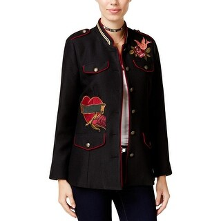 XOXO Womens Juniors Military Jacket Fall Embroidered - L