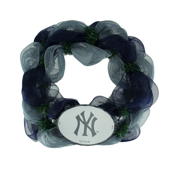 MLB New York Yankees Logo Mesh Holiday Door Wreath - Multicolored - 19.5 X 19.5 X 3.5 inches. Opens flyout.