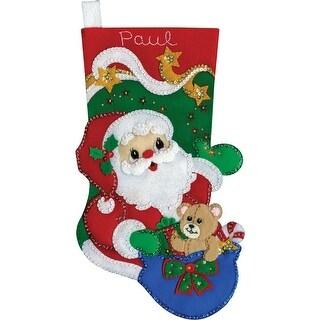 """Starlight Santa Stocking Felt Applique Kit-18"""" Long"""