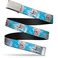 Blank Chrome  Buckle Frozen Elsa Face Action Pose Snowflakes Blues Web Belt
