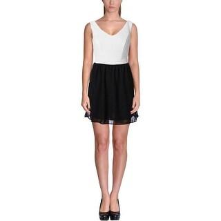 Be Bop Womens Juniors Casual Dress Chiffon Overlay Colorblock - M