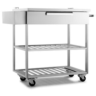 NewAge Products Outdoor Kitchen Classic 32 Inch W x 24 Inch D Bar Cart - STAINLESS STEEL