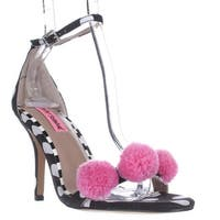 Blue by Betsey Johnson Lylly Puff Ankle Strap Sandals, Black Polka Dot