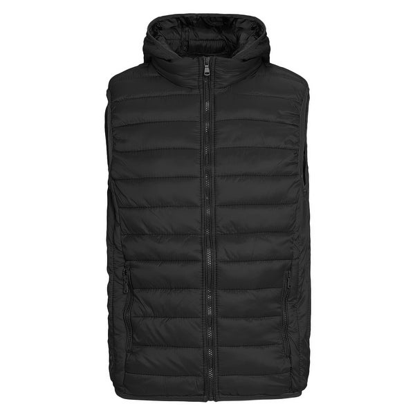 Mens Outdoor Hooded Puffer Vest Packable Lightweight Down Vest by