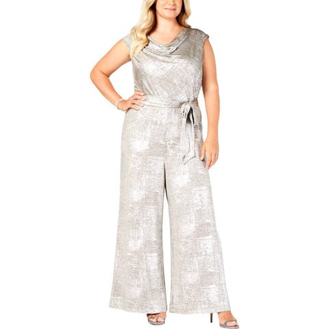 Connected Apparel Womens Plus Jumpsuit Metallic Cowl Neck