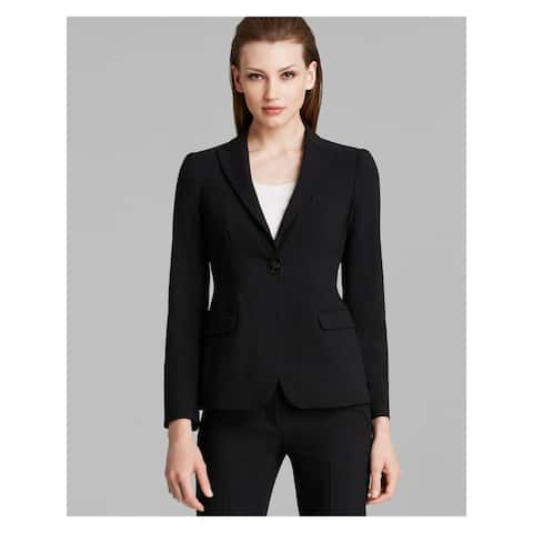 ARMANI Womens Black V Neck Blazer Wear to Work Jacket Size 10